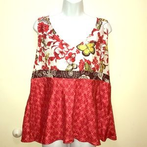 Tops - All silk tank top with flowers and butterflies red